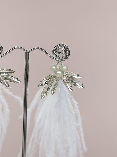 Feather tassel earrings wedding jewellery