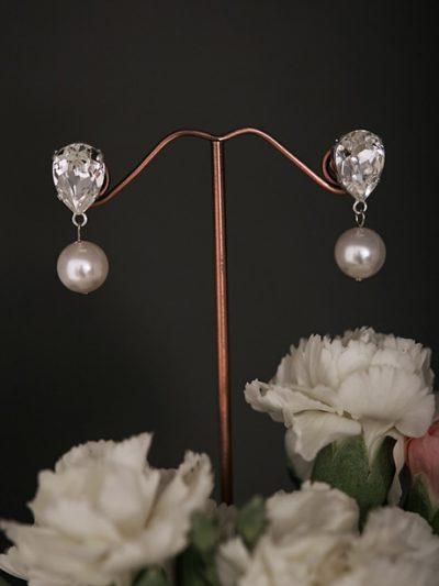 Small drop wedding earrings