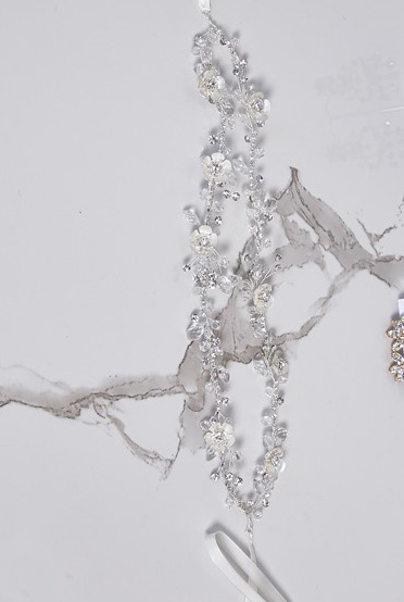 Double silver bridal hair accessory