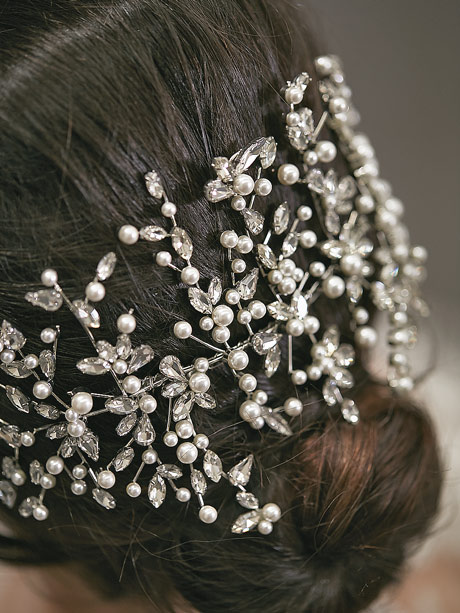 Statement hair piece for bridal
