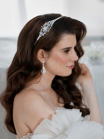 Aysmetrical headband with crystal flowers