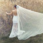 Long veil with ribbon trim