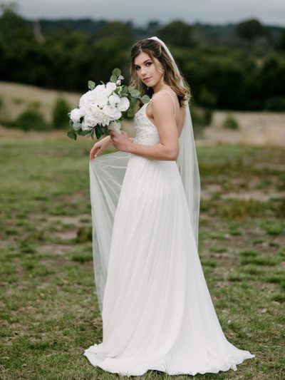 Single layer wedding veil long length