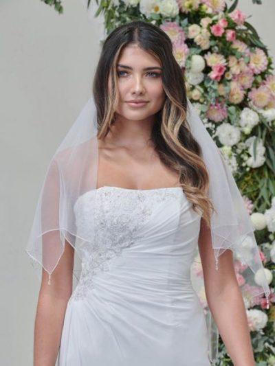 Crystal drop veil with sequin trim