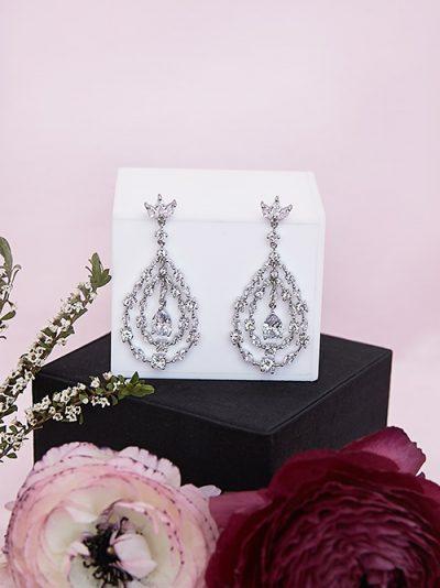 Dramatic long chandelier earrings bridal jewellery