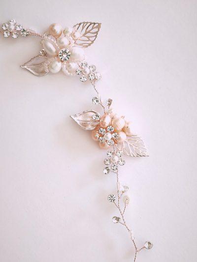Rose gold pearl hair vine