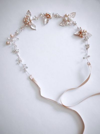 Rose gold and pearls hair piece