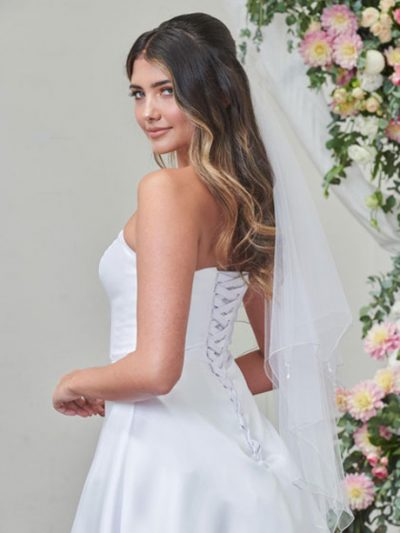 Veil with sequin trim and crystal drops