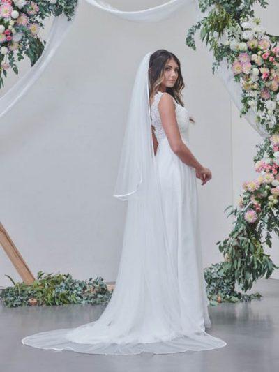 Matching long veil to short length