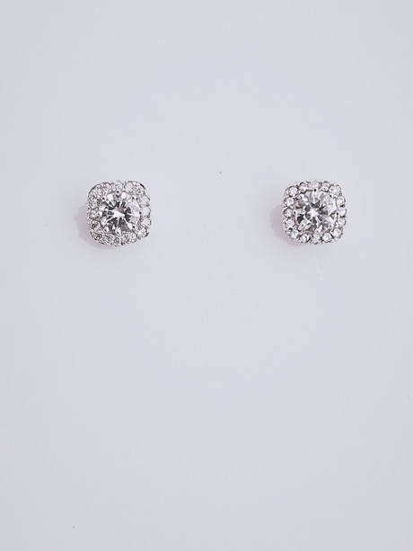 Diamontie square stud earrings