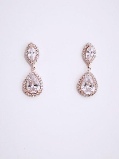 Rose gold diamantie fashion earrings