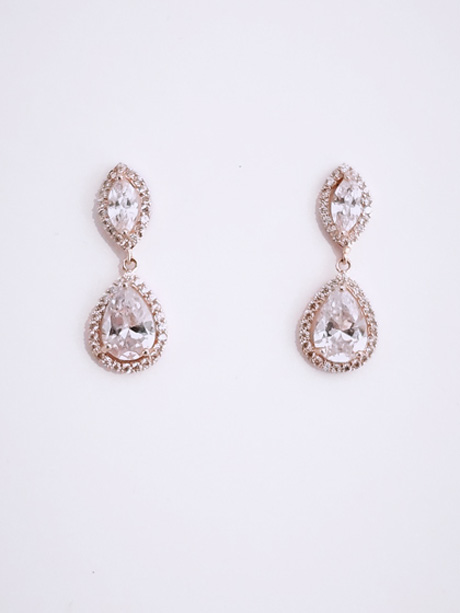 Rose gold diamantie fashion earrings