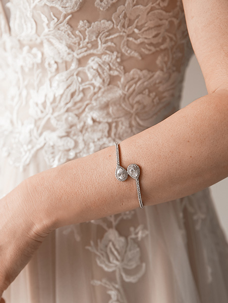 Classic bracelet being worn by bride
