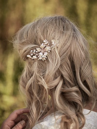 Rose gold hair piece for brides