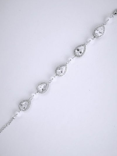 Slver Pearl wedding bracelet