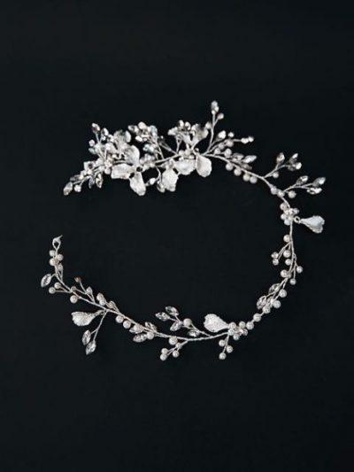 Detail of silver wedding dress belts