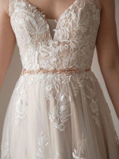 Rose gold belt for brides