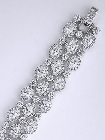 Crystal and silver large evening bracelet