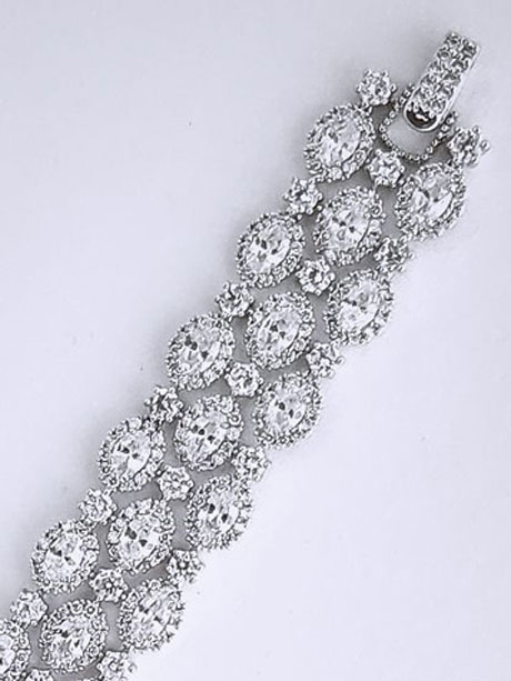 Crystal and silver large evening bracelet