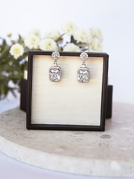 Square princess cut earrings fashion jewellery