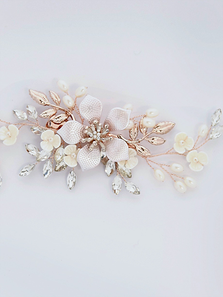 Rose gold hairpiece wedding jewellery Australia