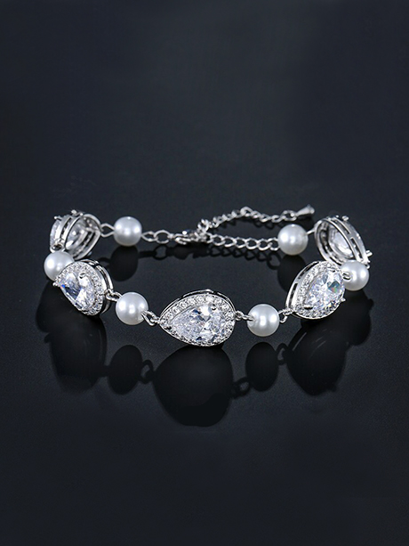 crystal and pearl bridal bracelets