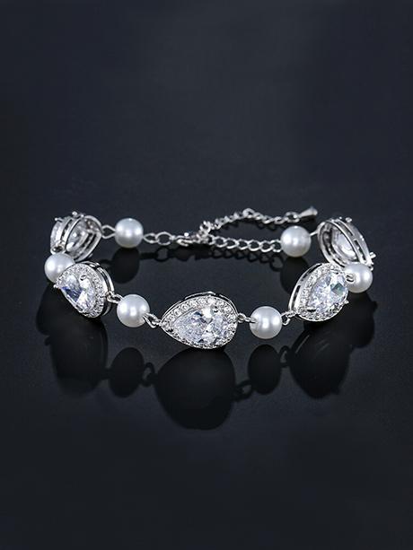 crystal and pearl bridal bracelets