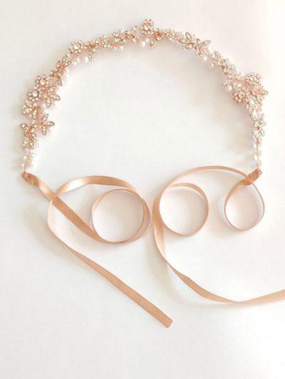 Pearl detail rose gold belt