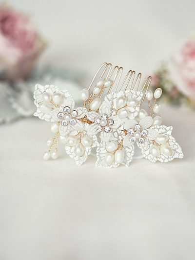 Ivory bridal hairpiece comb