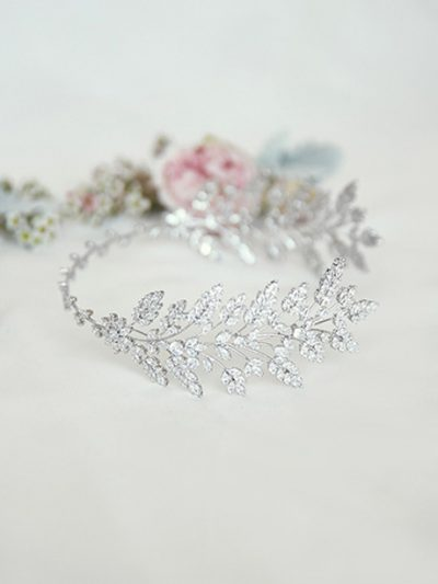 Bridal headbands in Silver Dora style