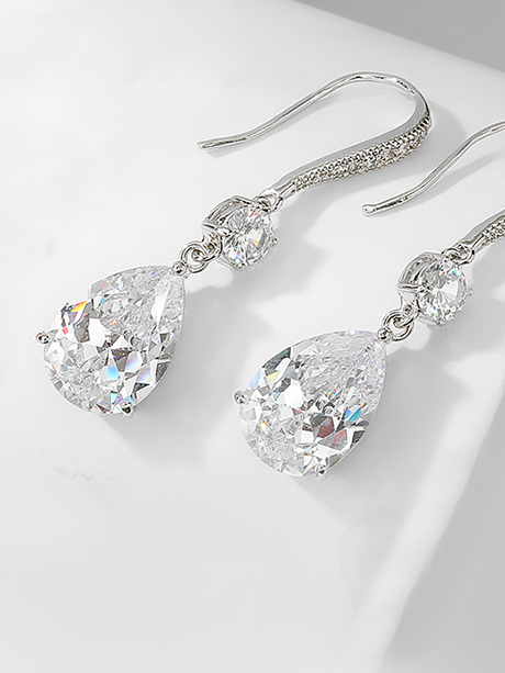 Sparkling silver hook bridesmaids earrings