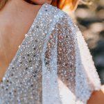 Details of beaded wedding sleeves
