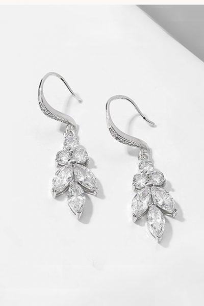 Silver hook wedding earrings