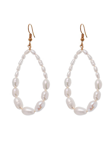 Natural pearl hoop earrings