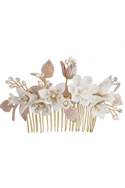 Wedding side hair comb with flowers