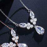 Wedding jewellery Silver drop necklace