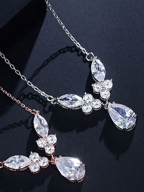 Wedding jewellery Silver drop necklace