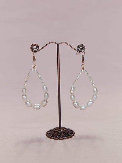 Pearl hoop earrings wedding jewellery