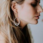Natural pearl loop drops