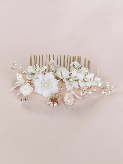 Pink bridal comb