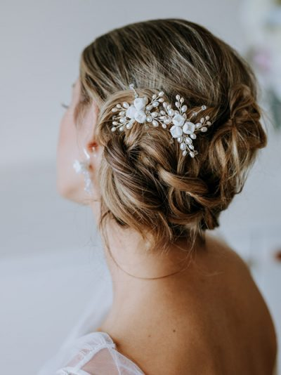 pair of floral bridal hair clips