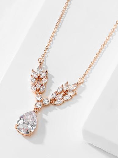 rose gold colour bridal necklaces