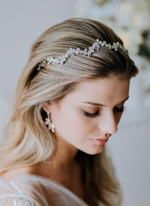 Zig zag headband hair accessories and bridal hairstyles