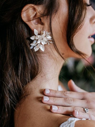 Floral silver studs